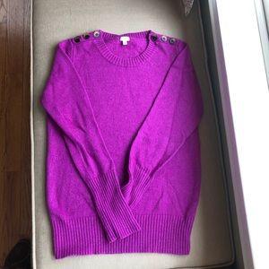 J Crew Fuschia Sweater with Button Trim EUC